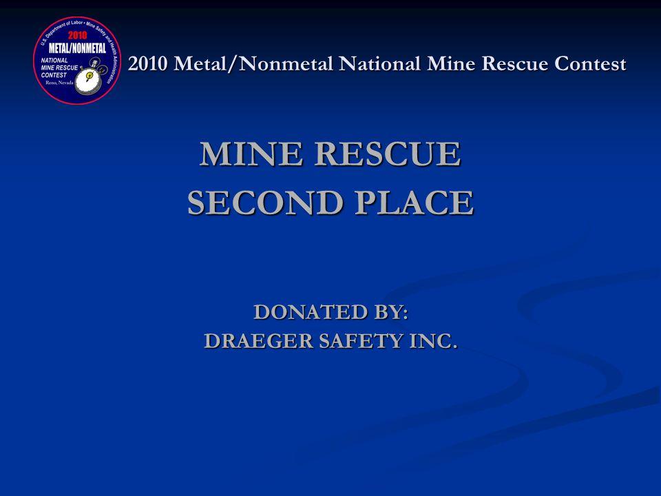 2010 Metal/Nonmetal National Mine Rescue Contest MINE RESCUE SECOND PLACE WASHINGTON TRU SOLUTIONS – WIPP BLUE Gary Kessler, Captain