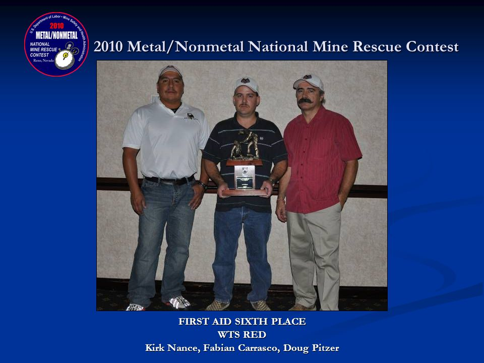 2010 Metal/Nonmetal National Mine Rescue Contest FIRST AID CONTEST FIFTH PLACE DONATED BY: NORTHWEST MINING ASSOCIATION