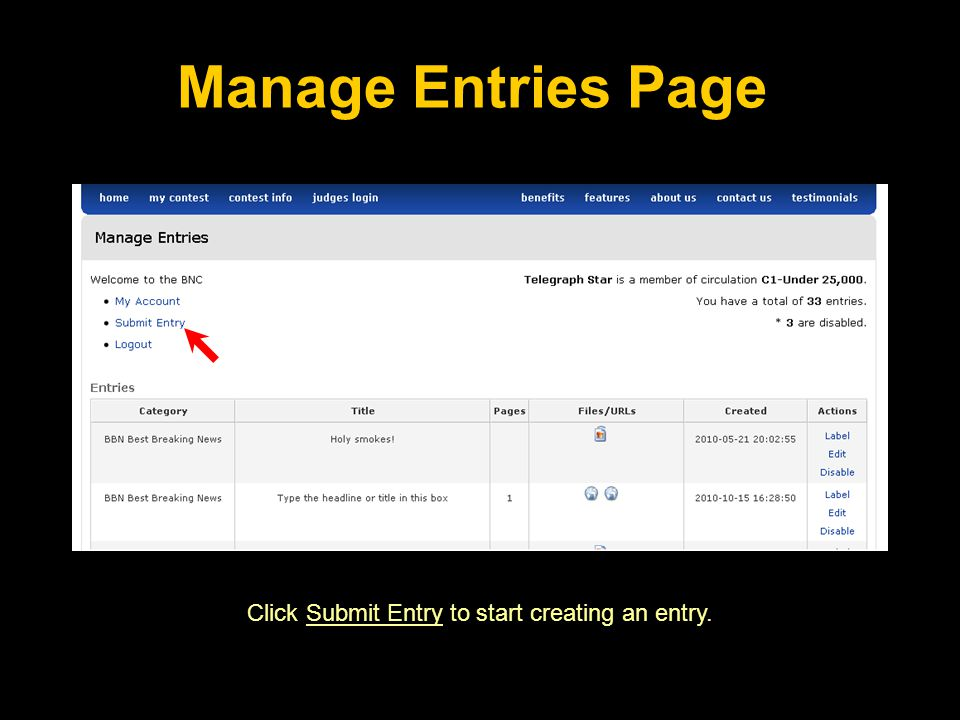 Click Submit Entry to start creating an entry. Manage Entries Page