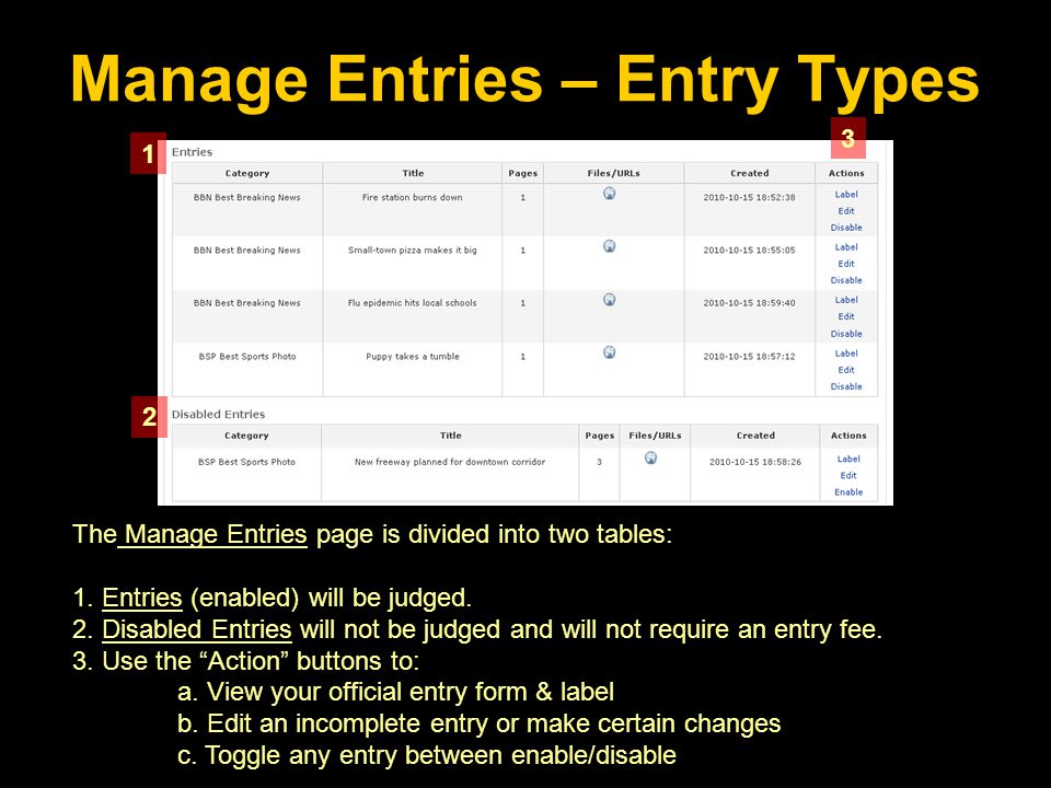 The Manage Entries page is divided into two tables: 1.