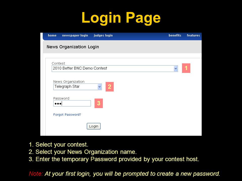 Contest Navigation After you log in to your account, mouse-over or click on my contest to navigate to your account and manage your entries.