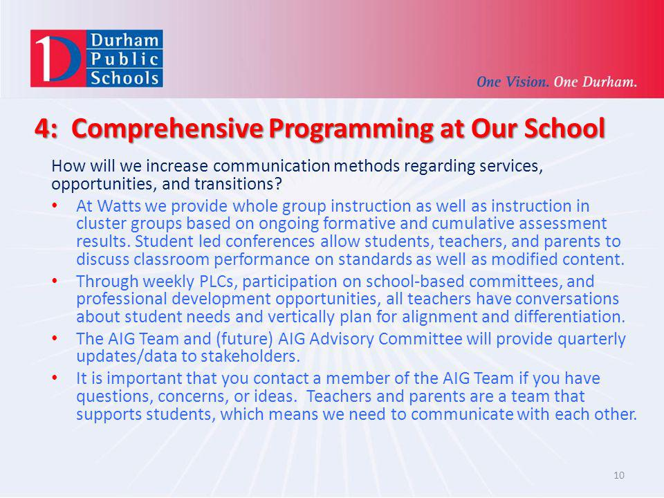 4: Comprehensive Programming at Our School How will we increase communication methods regarding services, opportunities, and transitions? At Watts we