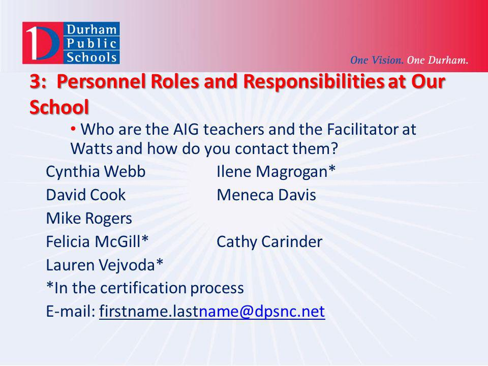 3: Personnel Roles and Responsibilities at Our School Who are the AIG teachers and the Facilitator at Watts and how do you contact them? Cynthia Webb