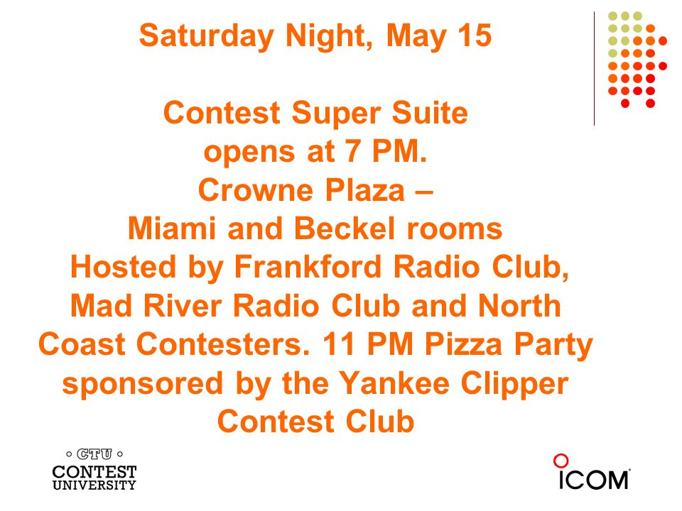 Saturday Night, May 15 Contest Super Suite opens at 7 PM. Crowne Plaza – Miami and Beckel rooms Hosted by Frankford Radio Club, Mad River Radio Club a