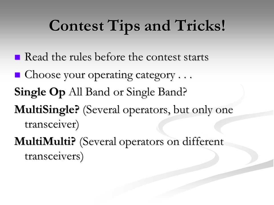 Contest Tips and Tricks.