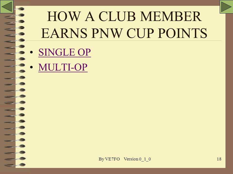 By VE7FO Version 0_1_018 HOW A CLUB MEMBER EARNS PNW CUP POINTS SINGLE OP MULTI-OP