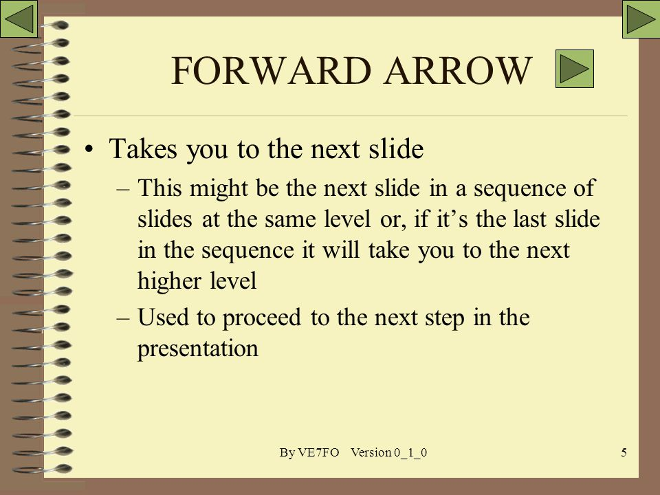 By VE7FO Version 0_1_05 FORWARD ARROW Takes you to the next slide –This might be the next slide in a sequence of slides at the same level or, if its the last slide in the sequence it will take you to the next higher level –Used to proceed to the next step in the presentation