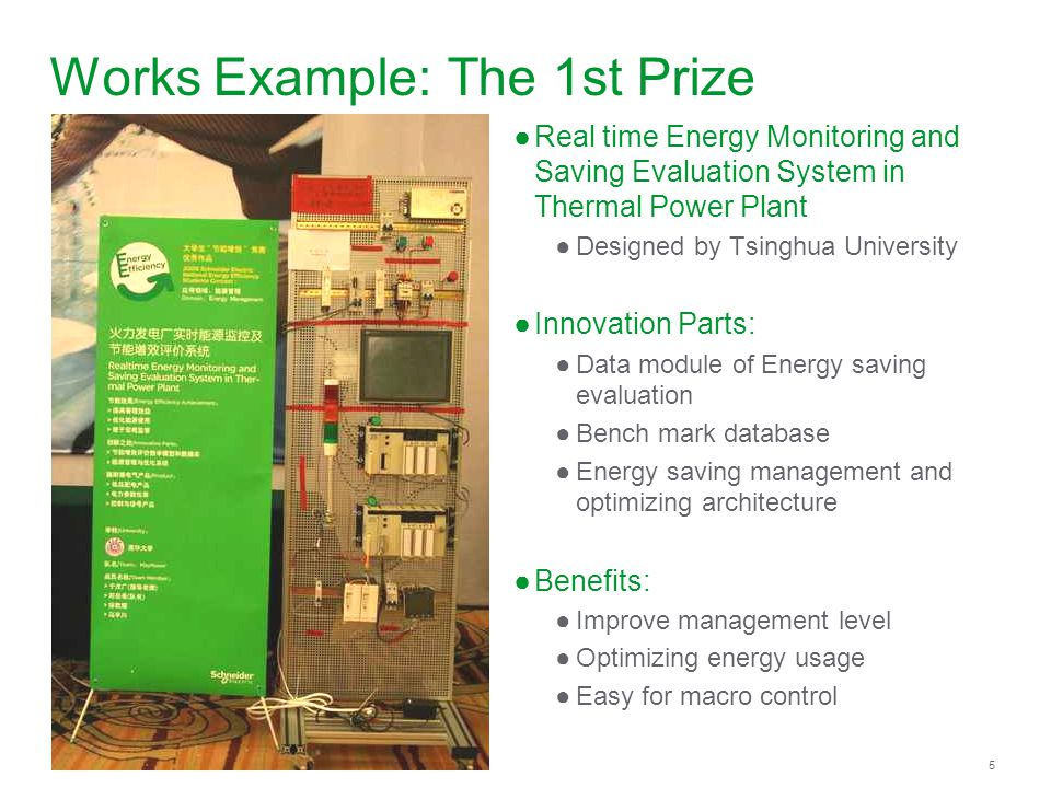 Schneider Electric 5 - Division - Name – Date Works Example: The 1st Prize Real time Energy Monitoring and Saving Evaluation System in Thermal Power Plant Designed by Tsinghua University Innovation Parts: Data module of Energy saving evaluation Bench mark database Energy saving management and optimizing architecture Benefits: Improve management level Optimizing energy usage Easy for macro control
