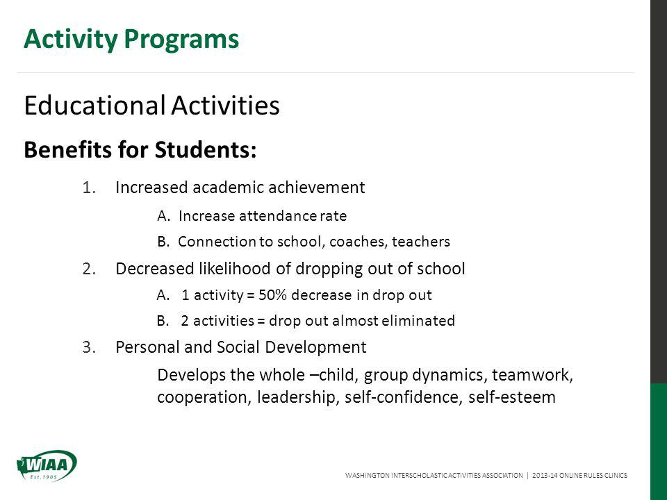 WASHINGTON INTERSCHOLASTIC ACTIVITIES ASSOCIATION | 2013-14 ONLINE RULES CLINICS Activity Programs Educational Activities Benefits for Students: 1.Increased academic achievement A.