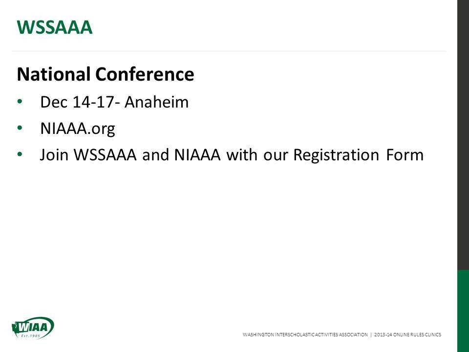 WASHINGTON INTERSCHOLASTIC ACTIVITIES ASSOCIATION | 2013-14 ONLINE RULES CLINICS WSSAAA National Conference Dec 14-17- Anaheim NIAAA.org Join WSSAAA and NIAAA with our Registration Form