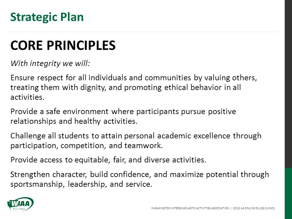 WASHINGTON INTERSCHOLASTIC ACTIVITIES ASSOCIATION | 2013-14 ONLINE RULES CLINICS Strategic Plan CORE PRINCIPLES With integrity we will: Ensure respect for all individuals and communities by valuing others, treating them with dignity, and promoting ethical behavior in all activities.