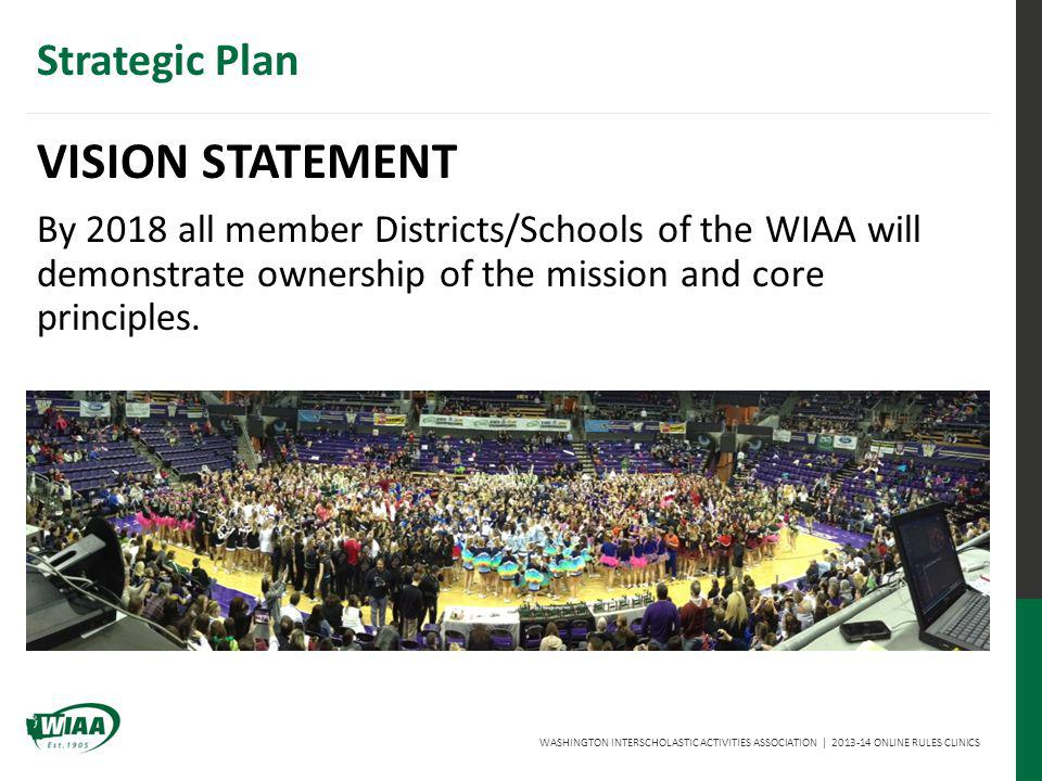 WASHINGTON INTERSCHOLASTIC ACTIVITIES ASSOCIATION | 2013-14 ONLINE RULES CLINICS Strategic Plan GOALS To increase awareness of the benefits developed through participation in educationally-based activities.