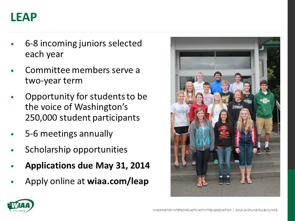WASHINGTON INTERSCHOLASTIC ACTIVITIES ASSOCIATION | 2013-14 ONLINE RULES CLINICS LEAP 6-8 incoming juniors selected each year Committee members serve a two-year term Opportunity for students to be the voice of Washingtons 250,000 student participants 5-6 meetings annually Scholarship opportunities Applications due May 31, 2014 Apply online at wiaa.com/leap