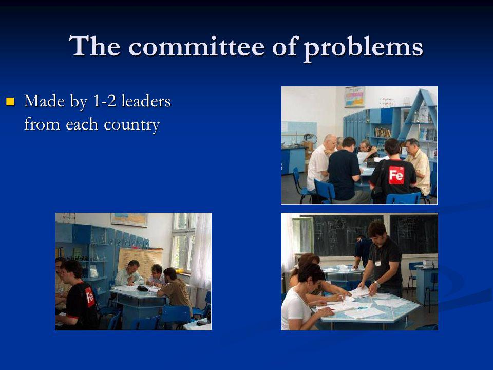 The committee of problems Made by 1-2 leaders from each country Made by 1-2 leaders from each country