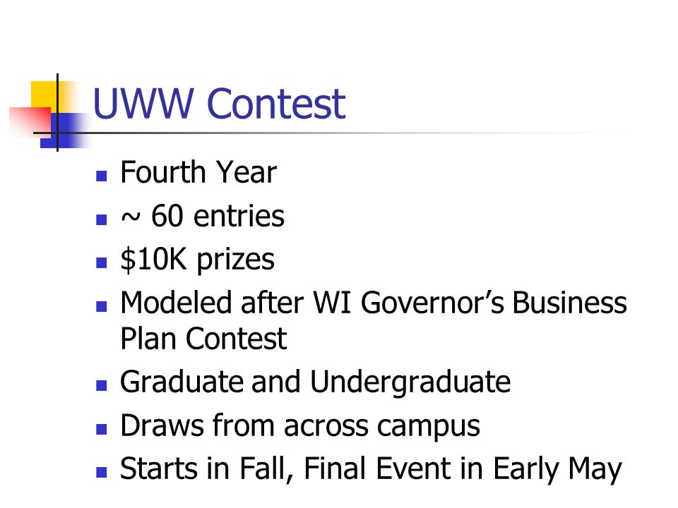 UWW Contest Fourth Year ~ 60 entries $10K prizes Modeled after WI Governors Business Plan Contest Graduate and Undergraduate Draws from across campus