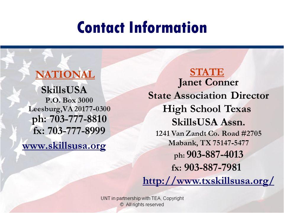 Contact Information SkillsUSA P.O.