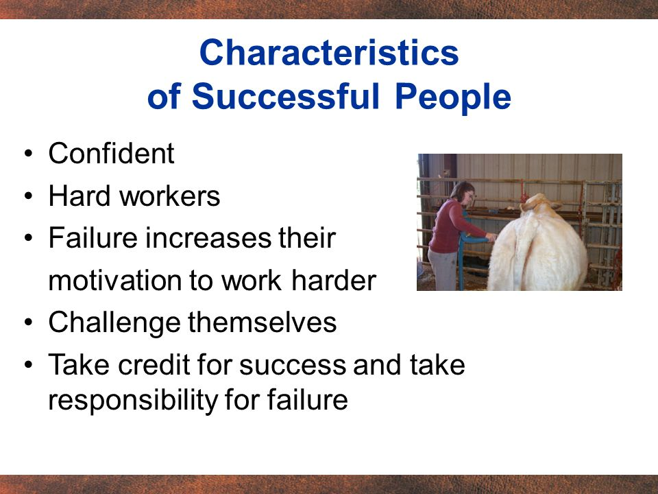 Confident Hard workers Failure increases their motivation to work harder Challenge themselves Take credit for success and take responsibility for failure Characteristics of Successful People