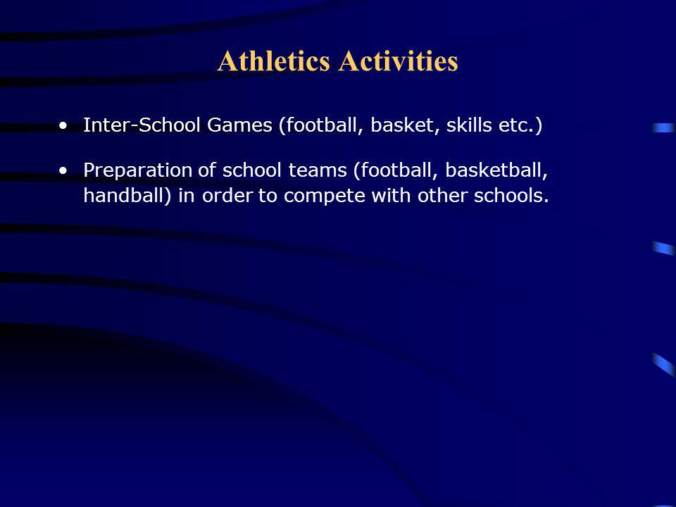Athletics Activities Inter-School Games (football, basket, skills etc.) Preparation of school teams (football, basketball, handball) in order to compete with other schools.