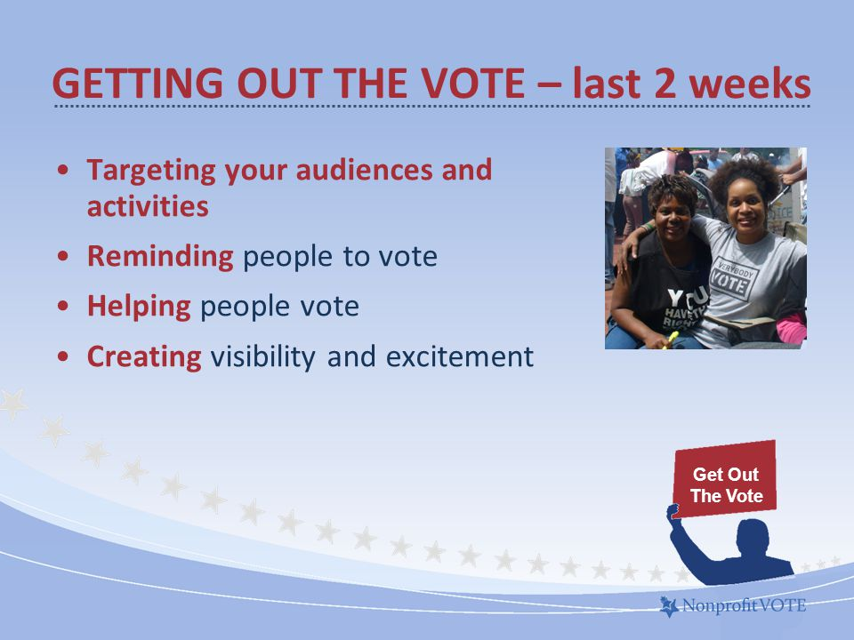GETTING OUT THE VOTE – last 2 weeks Targeting your audiences and activities Reminding people to vote Helping people vote Creating visibility and excitement Get Out The Vote