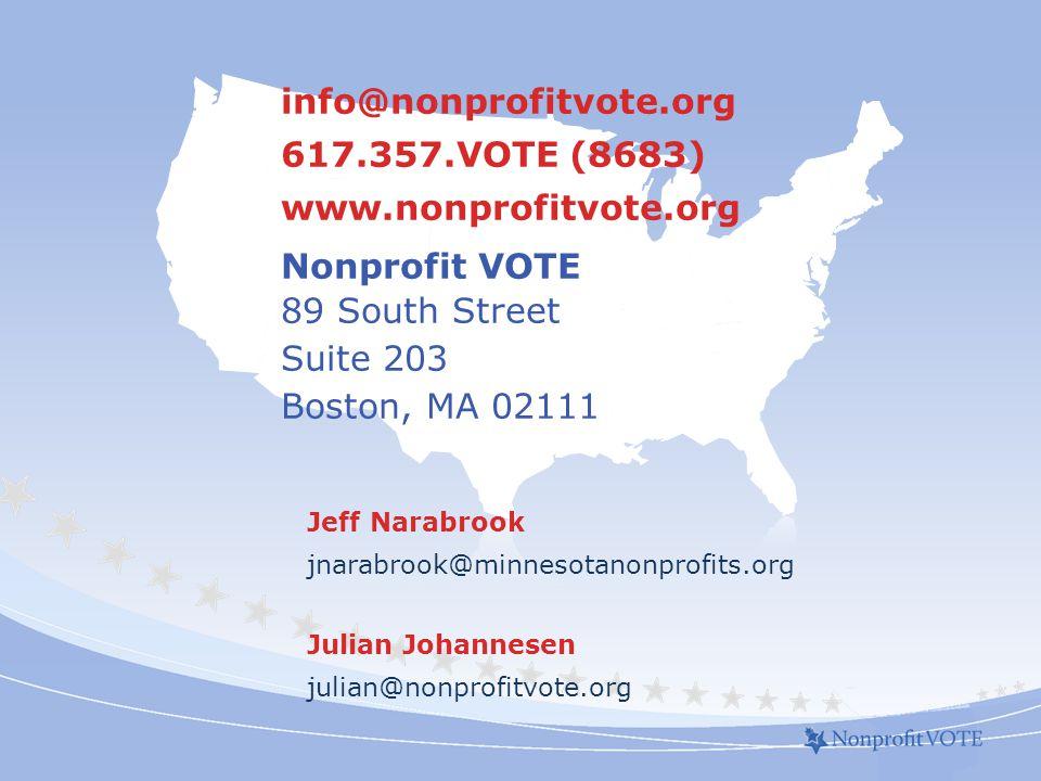 info@nonprofitvote.org 617.357.VOTE (8683) www.nonprofitvote.org Nonprofit VOTE 89 South Street Suite 203 Boston, MA 02111 Jeff Narabrook jnarabrook@minnesotanonprofits.org Julian Johannesen julian@nonprofitvote.org
