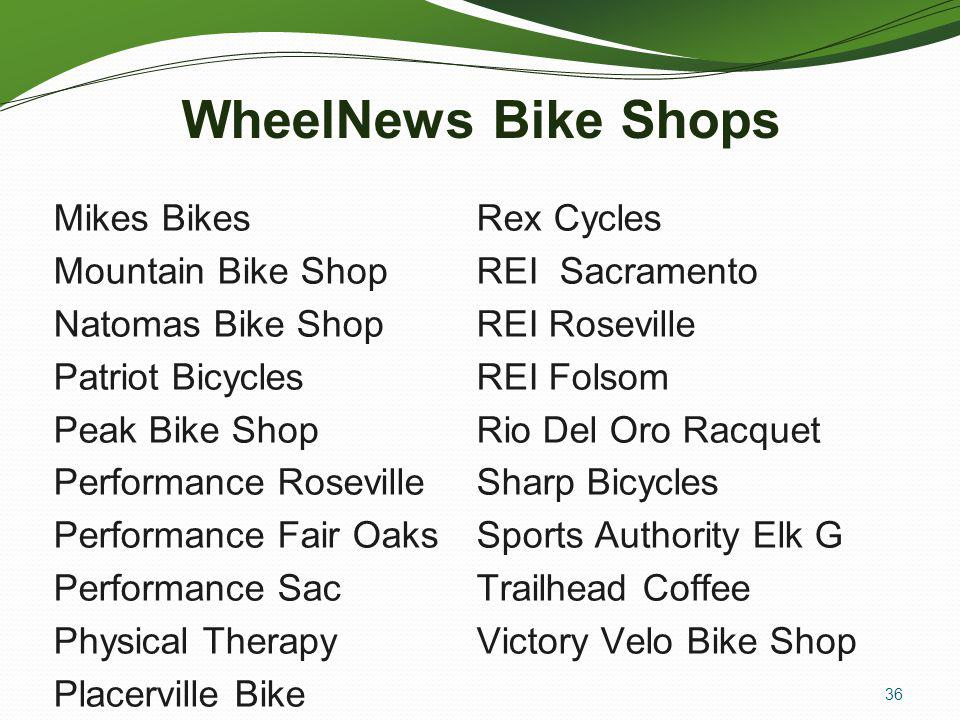WheelNews Bike Shops Mikes Bikes Mountain Bike Shop Natomas Bike Shop Patriot Bicycles Peak Bike Shop Performance Roseville Performance Fair Oaks Performance Sac Physical Therapy Placerville Bike Rex Cycles REI Sacramento REI Roseville REI Folsom Rio Del Oro Racquet Sharp Bicycles Sports Authority Elk G Trailhead Coffee Victory Velo Bike Shop 36