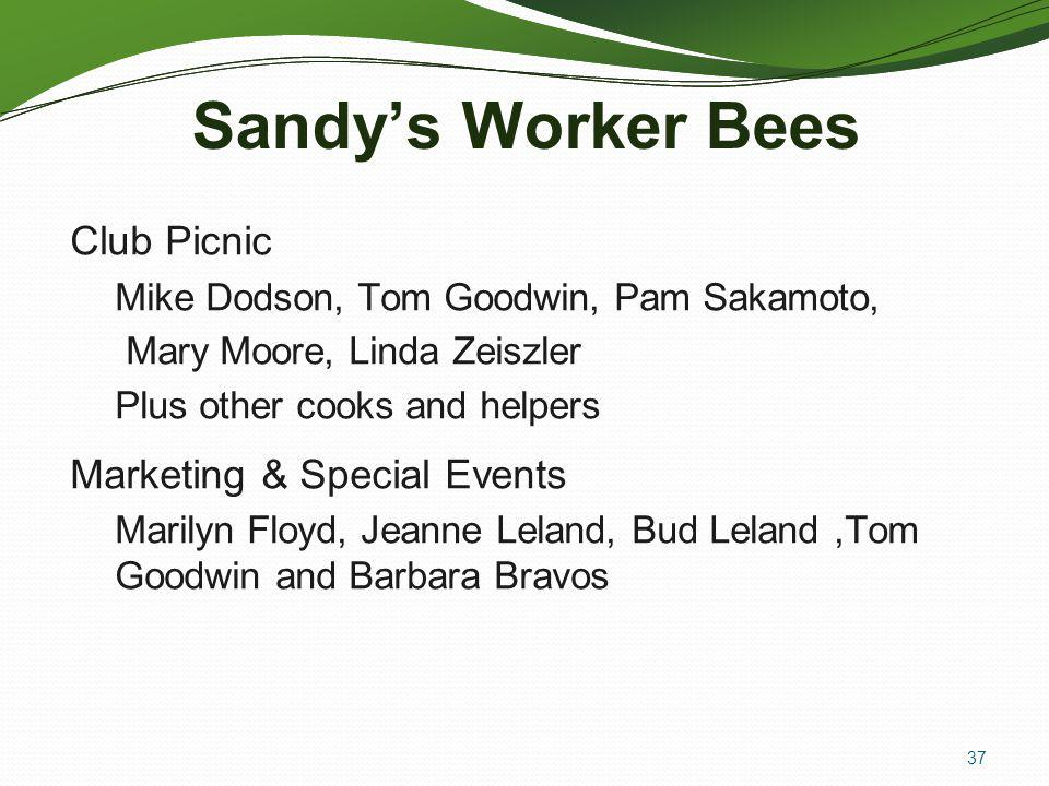 37 Sandys Worker Bees Club Picnic Mike Dodson, Tom Goodwin, Pam Sakamoto, Mary Moore, Linda Zeiszler Plus other cooks and helpers Marketing & Special Events Marilyn Floyd, Jeanne Leland, Bud Leland,Tom Goodwin and Barbara Bravos