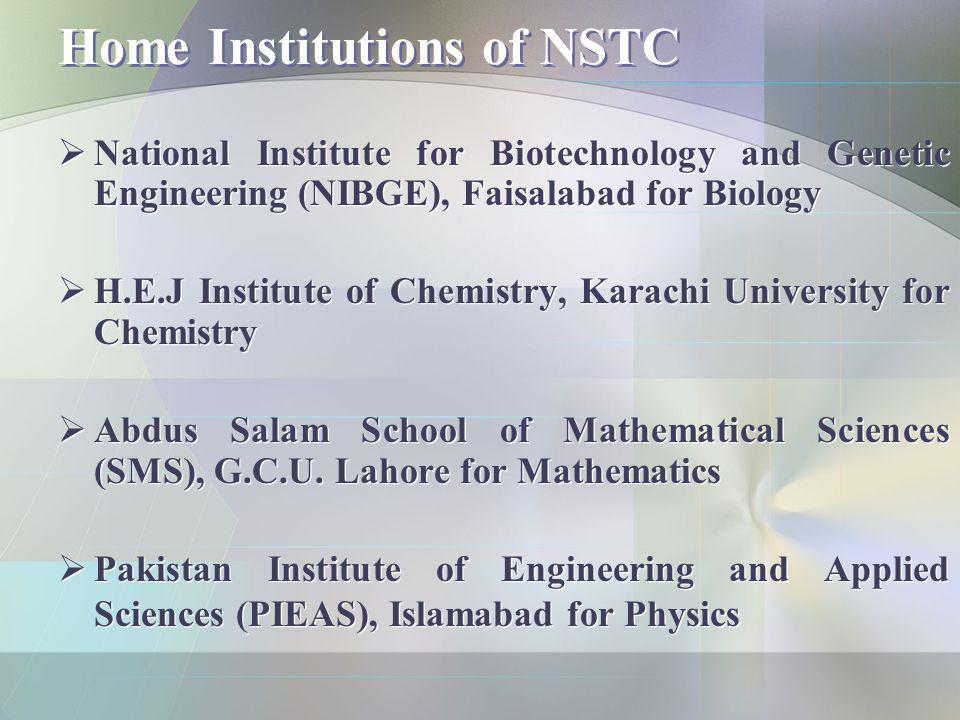 Home Institutions of NSTC National Institute for Biotechnology and Genetic Engineering (NIBGE), Faisalabad for Biology H.E.J Institute of Chemistry, K
