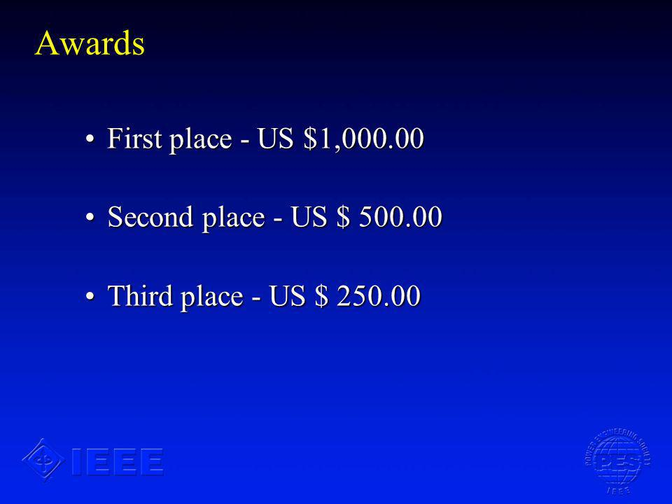 Awards First place - US $1,000.00First place - US $1,000.00 Second place - US $ 500.00Second place - US $ 500.00 Third place - US $ 250.00Third place - US $ 250.00