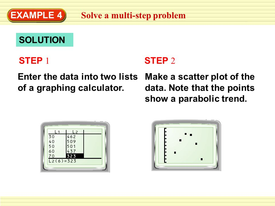 EXAMPLE 4 Solve a multi-step problem SOLUTION STEP 1 Enter the data into two lists of a graphing calculator. STEP 2 Make a scatter plot of the data. N