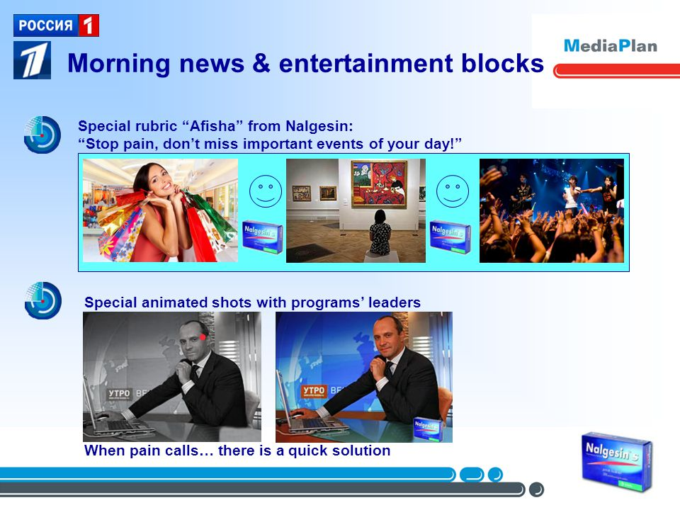 Morning news & entertainment blocks Special rubric Afisha from Nalgesin: Stop pain, dont miss important events of your day.