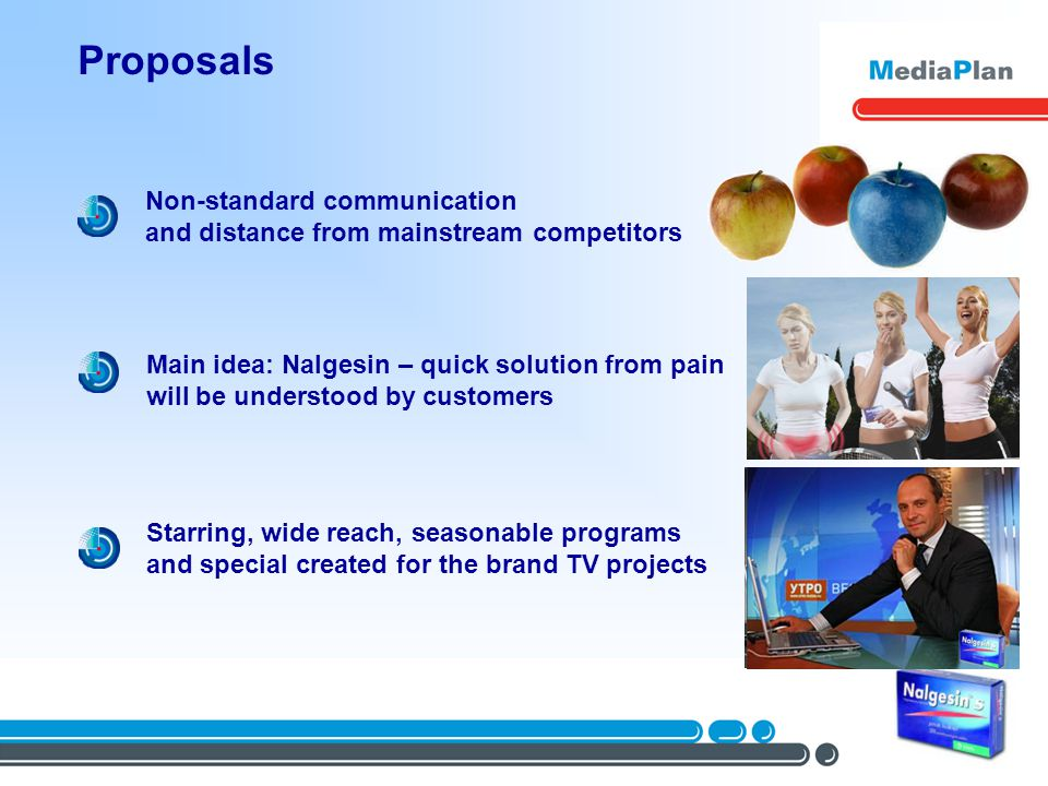 Proposals Non-standard communication and distance from mainstream competitors Main idea: Nalgesin – quick solution from pain will be understood by customers Starring, wide reach, seasonable programs and special created for the brand TV projects
