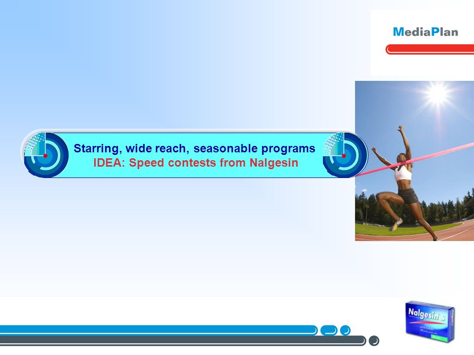 Starring, wide reach, seasonable programs IDEA: Speed contests from Nalgesin