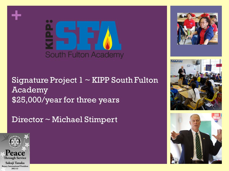 + Signature Project 1 ~ KIPP South Fulton Academy $25,000/year for three years Director ~ Michael Stimpert