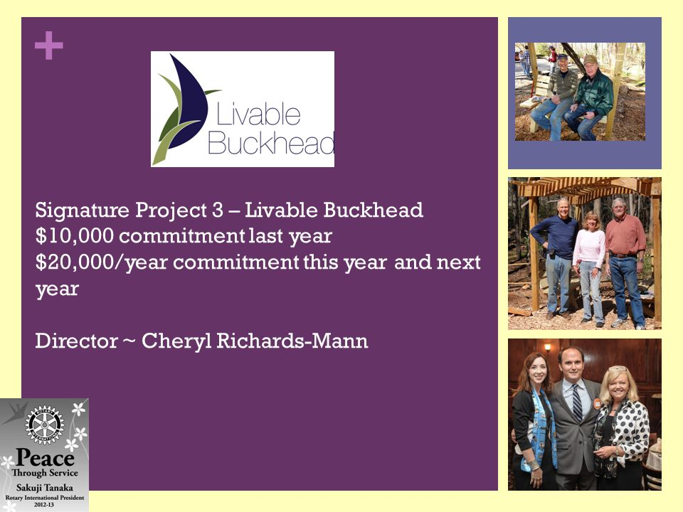 + Signature Project 3 – Livable Buckhead $10,000 commitment last year $20,000/year commitment this year and next year Director ~ Cheryl Richards-Mann