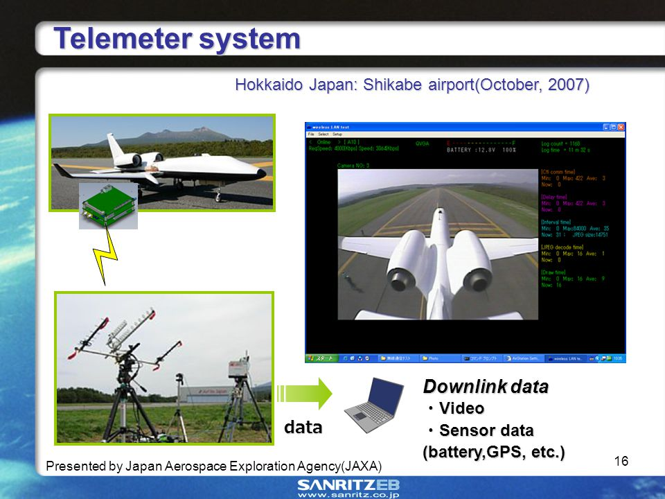 16 Telemeter system Telemeter system Hokkaido Japan: Shikabe airport(October, 2007) Presented by Japan Aerospace Exploration Agency(JAXA) data Downlink data Video Video Sensor data (battery,GPS, etc.) Sensor data (battery,GPS, etc.)