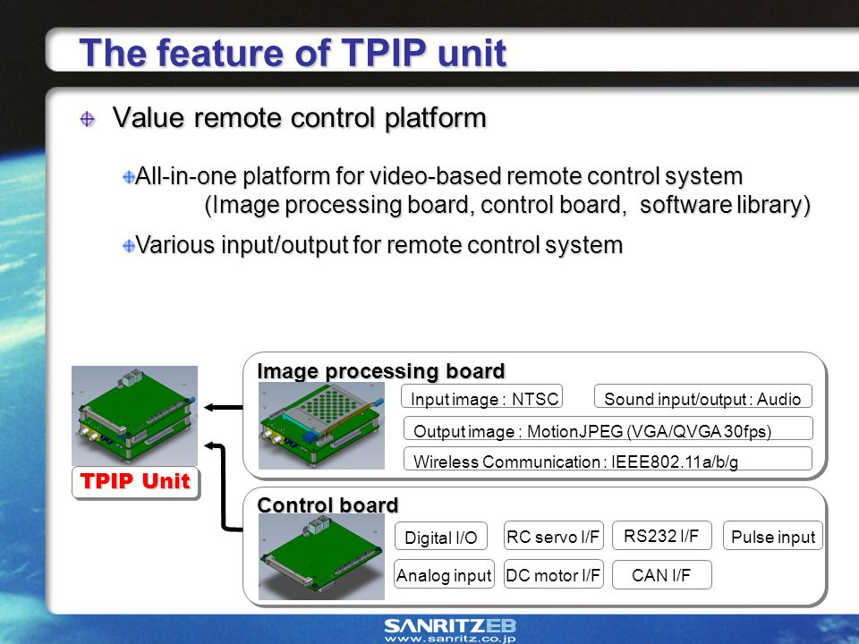 5 Image processing board Control board The feature of TPIP unit Value remote control platform All-in-one platform for video-based remote control system (Image processing board, control board, software library) Various input/output for remote control system TPIP Unit Input image : NTSC Output image : MotionJPEG (VGA/QVGA 30fps) Sound input/output : Audio Wireless Communication : IEEE802.11a/b/g Digital I/O RC servo I/F DC motor I/F Pulse input Analog input CAN I/F RS232 I/F