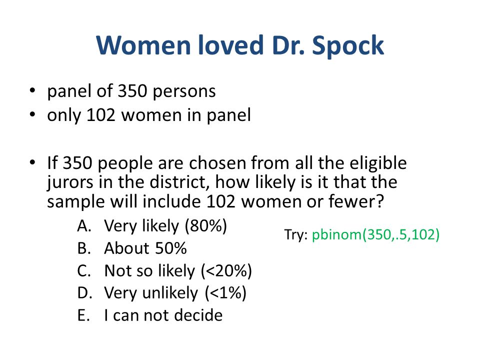 Women loved Dr. Spock panel of 350 persons only 102 women in panel If 350 people are chosen from all the eligible jurors in the district, how likely i