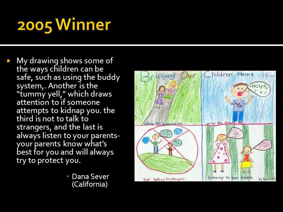 My drawing shows some of the ways children can be safe, such as using the buddy system,.