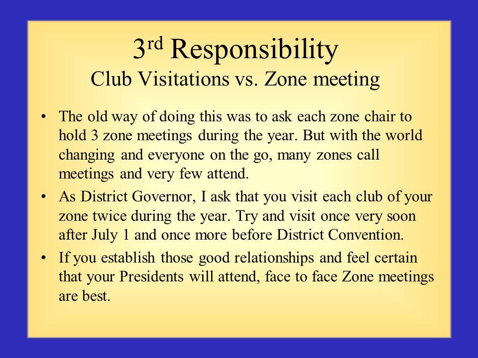 3 rd Responsibility Club Visitations vs.