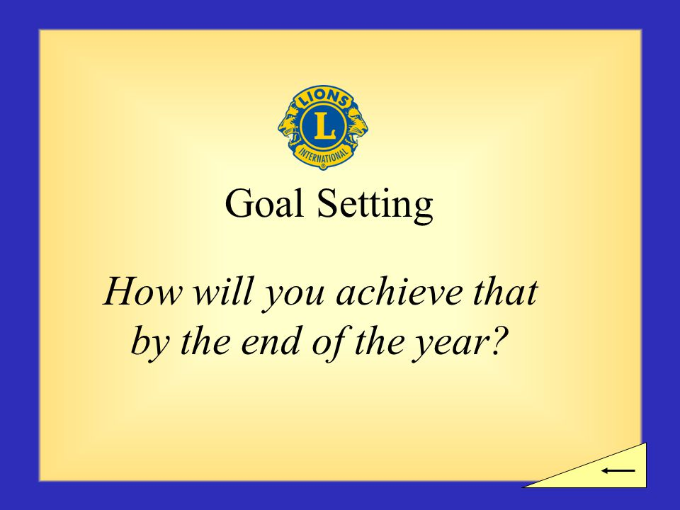 Goal Setting How will you achieve that by the end of the year