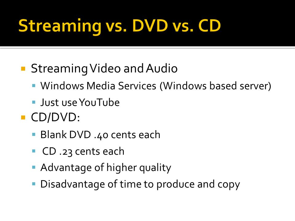 Streaming Video and Audio Windows Media Services (Windows based server) Just use YouTube CD/DVD: Blank DVD.40 cents each CD.23 cents each Advantage of higher quality Disadvantage of time to produce and copy