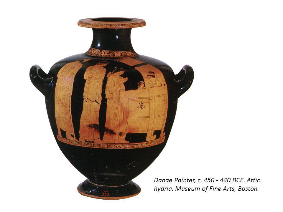 Danae Painter, c. 450 - 440 BCE. Attic hydria. Museum of Fine Arts, Boston.