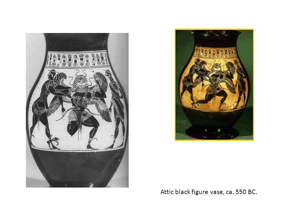 Attic black figure vase, ca. 550 BC.