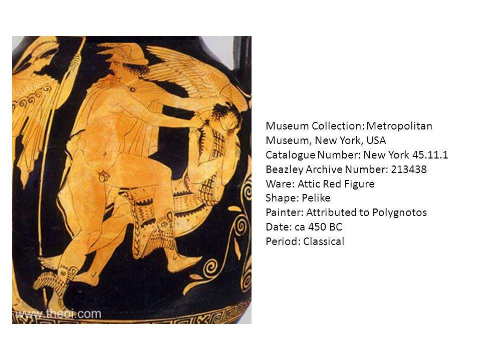 Museum Collection: Metropolitan Museum, New York, USA Catalogue Number: New York 45.11.1 Beazley Archive Number: 213438 Ware: Attic Red Figure Shape: Pelike Painter: Attributed to Polygnotos Date: ca 450 BC Period: Classical