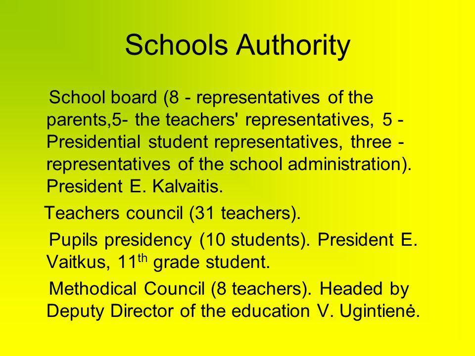 Schools Authority School board (8 - representatives of the parents,5- the teachers representatives, 5 - Presidential student representatives, three - representatives of the school administration).