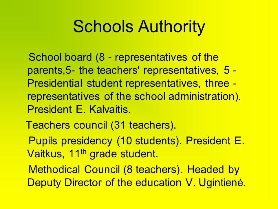 Schools Authority School board (8 - representatives of the parents,5- the teachers' representatives, 5 - Presidential student representatives, three -