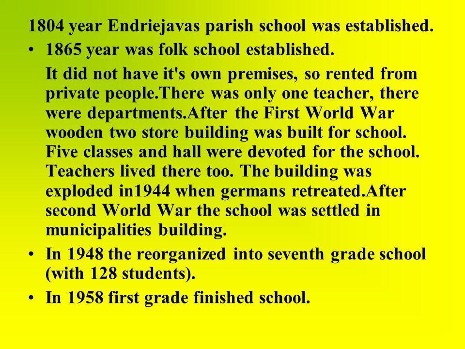 1804 year Endriejavas parish school was established.