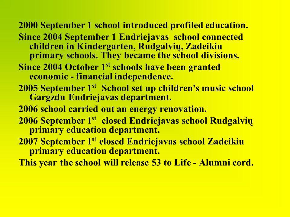 2000 September 1 school introduced profiled education. Since 2004 September 1 Endriejavas school connected children in Kindergarten, Rudgalvių, Zadeik