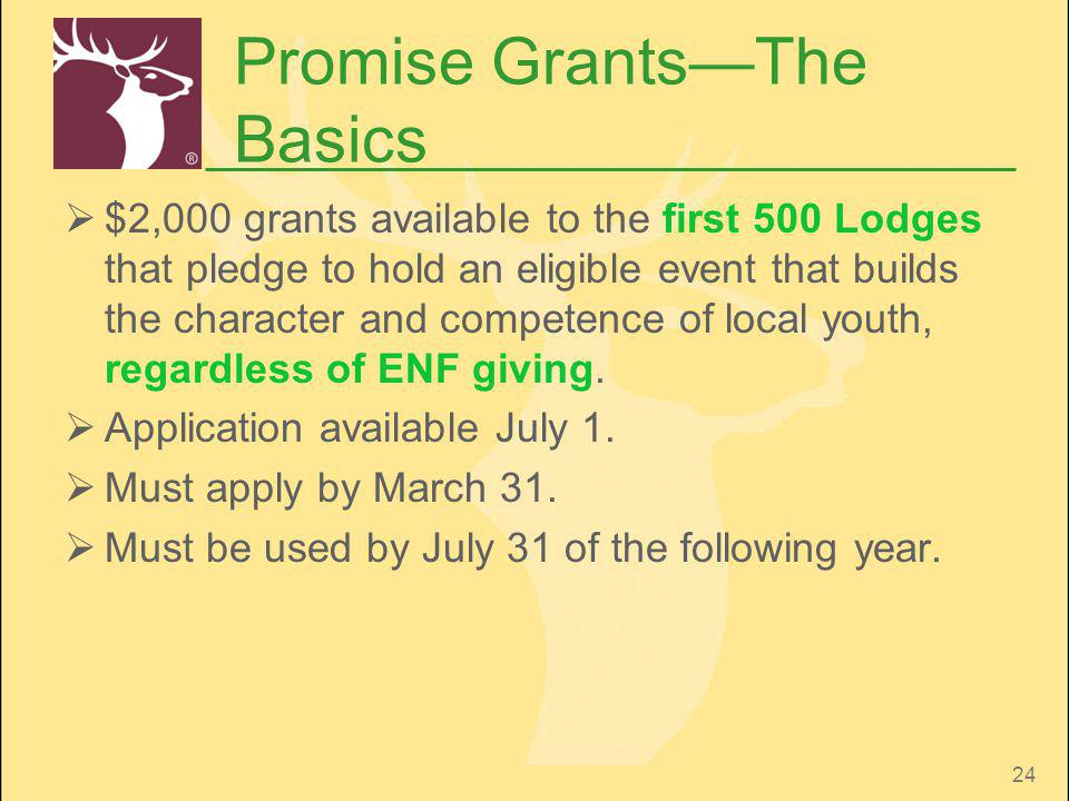24 Promise GrantsThe Basics $2,000 grants available to the first 500 Lodges that pledge to hold an eligible event that builds the character and compet