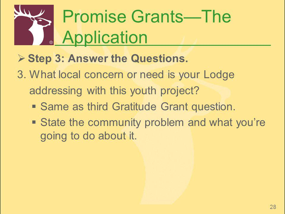 28 Promise GrantsThe Application Step 3: Answer the Questions. 3. What local concern or need is your Lodge addressing with this youth project? Same as